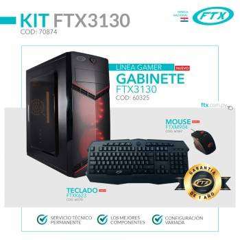 GABINETE KIT GAMER FTX3130 600W+MOUSE+TECLADO/2 FA