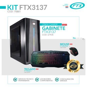 GABINETE KIT GAMER FTX3137 600W+ MOUSE+ TECLADO/LA